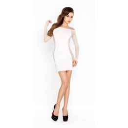 sexy Minikleid mit Armeln - weißes Netz
